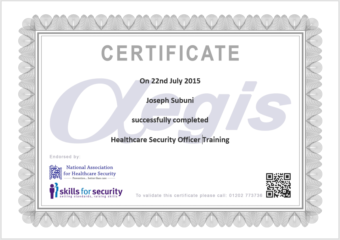 Aegis protective servicesoption 2 distance learning aegis training certificate example 1betcityfo Gallery