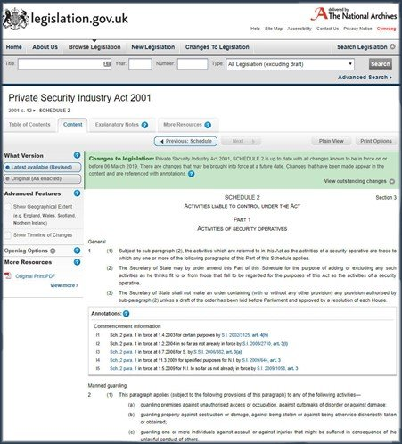Image shows the Private Security Industry Act 2001